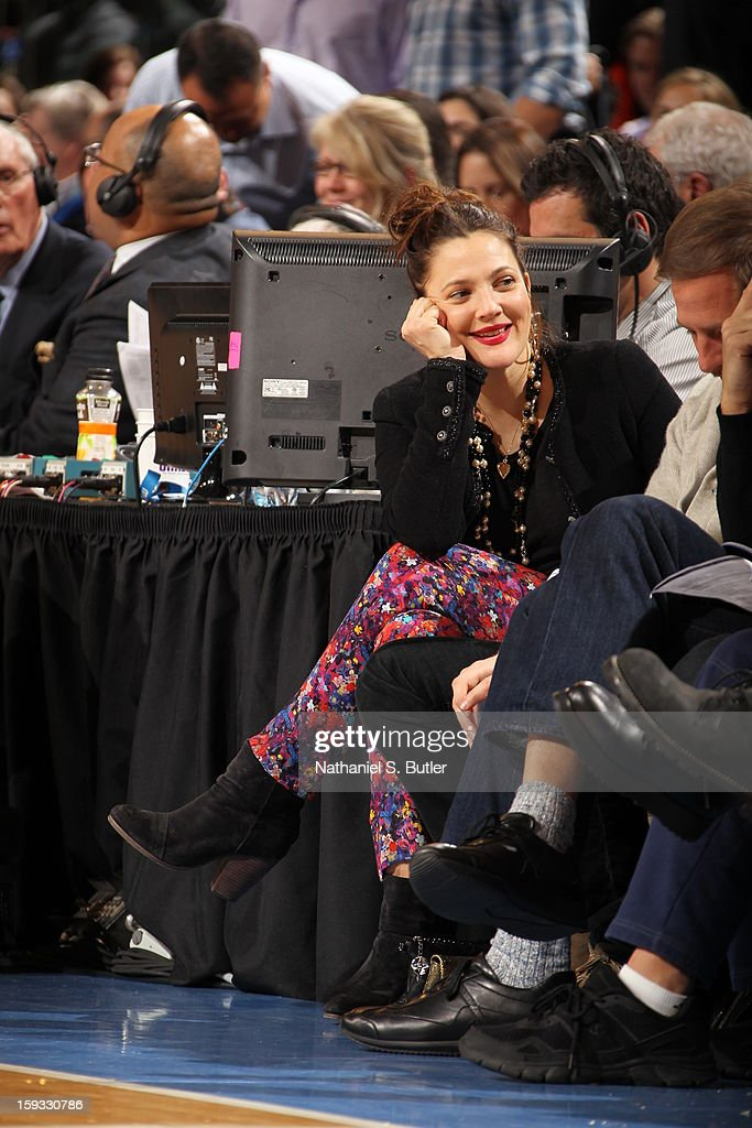 Actress Drew Barrymore watches the New York Knicks against the Chicago Bulls on January 11, 2013 at Madison Square Garden in New York City.