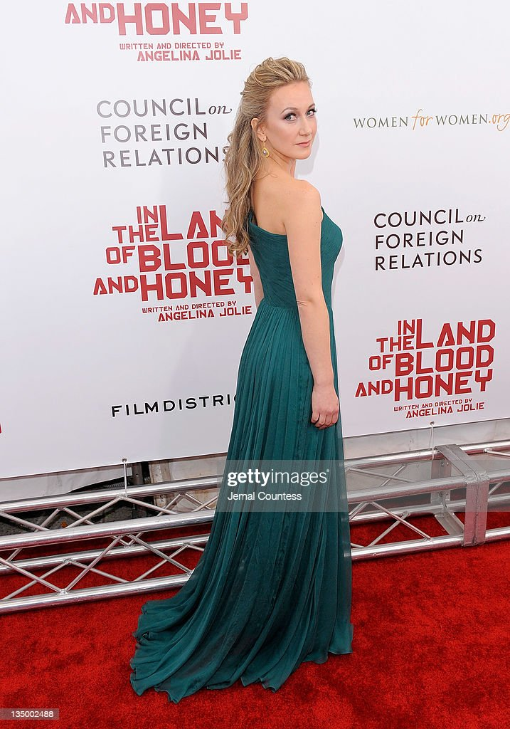 Actress Dzana Pinjo poses for a photo during the premiere of 'In the Land of Blood and Honey' at the School of Visual Arts on December 5, 2011 in New York City.