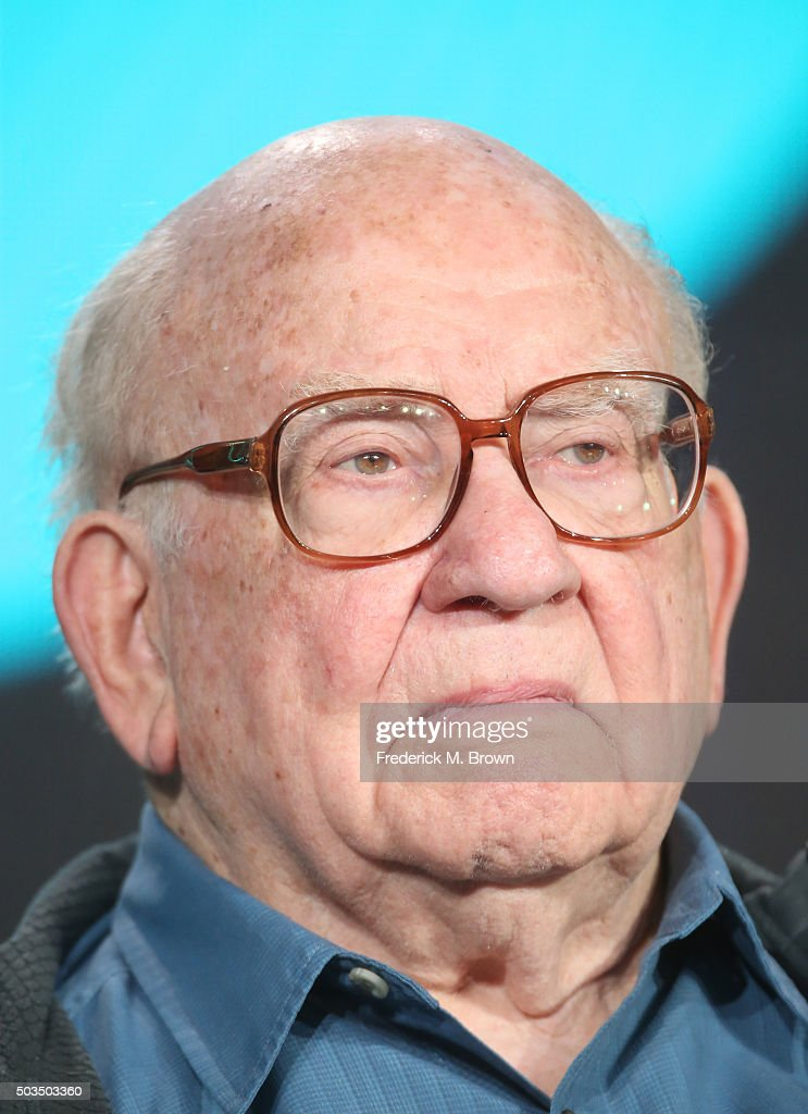 Actress Ed Asner speaks onstage during the 'Love Finds You in Valentine' panel as part of the UP portion of This is Cable 2016 TCA Press Tour at Langham Hotel on January 5, 2016 in Pasadena, California.