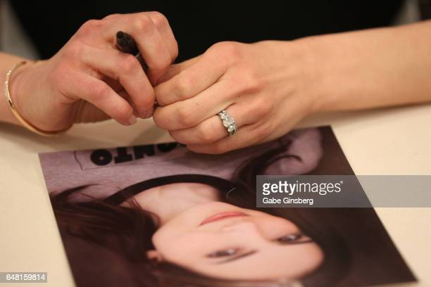Actress Eden Riegel ring detail attends ClexaCon 2017 convention at Bally's Las Vegas on March 4 2017 in Las Vegas Nevada