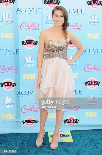 Actress Eden Sher arrives at the 2013 Teen Choice Awards at Gibson Amphitheatre on August 11 2013 in Universal City California