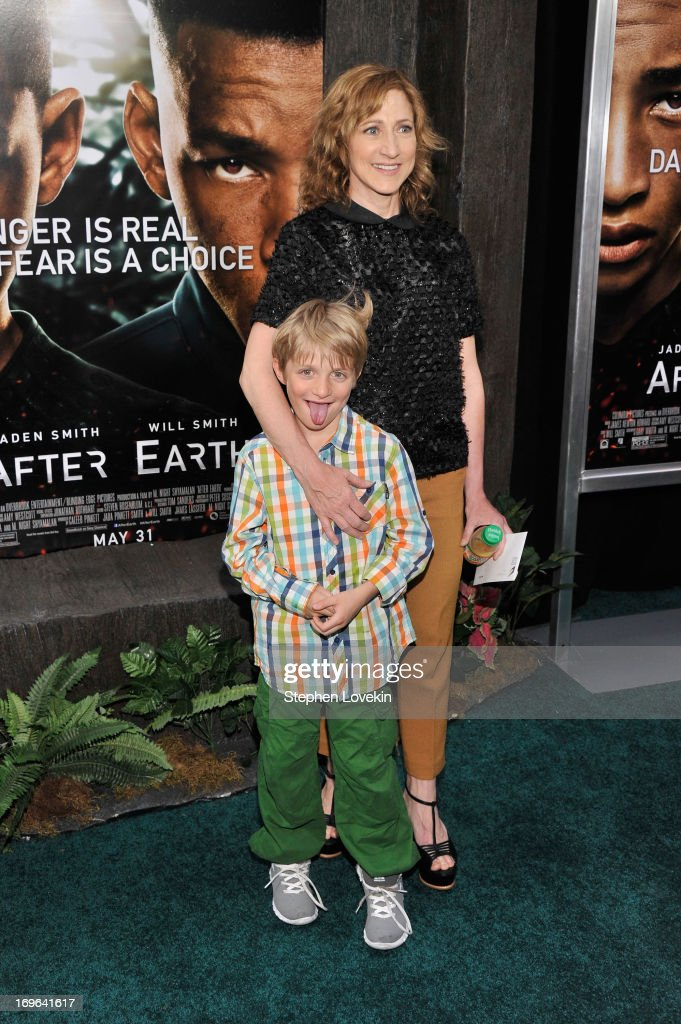 Actress <a gi-track='captionPersonalityLinkClicked' href=/galleries/search?phrase=Edie+Falco&family=editorial&specificpeople=202111 ng-click='$event.stopPropagation()'>Edie Falco</a> (R) and son Anderson Falco attend the 'After Earth' premiere at the Ziegfeld Theater on May 29, 2013 in New York City.