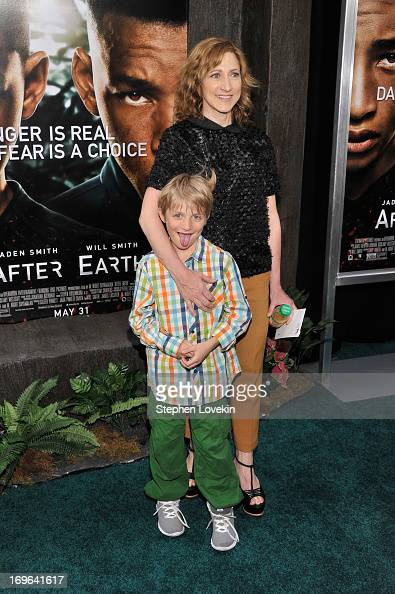 Actress Edie Falco and son Anderson Falco attend the 'After Earth' premiere at the Ziegfeld Theater on May 29 2013 in New York City