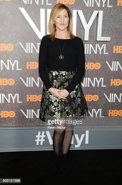 Actress Edie Falco attends the New York premiere of 'Vinyl' at Ziegfeld Theatre on January 15 2016 in New York City