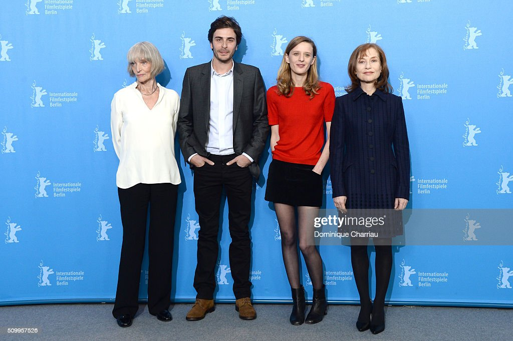Actress Edith Scob, actor Roman Kolinka, actresses Mia Hansen-Love and Isabelle Huppert attend the 'Things to Come' (L'avenir) photo call during the 66th Berlinale International Film Festival Berlin at Grand Hyatt Hotel on February 13, 2016 in Berlin, Germany.