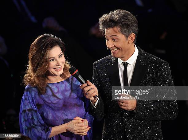Actress Edwige Fenech and Rosario Fiorello performs during the 'Il Piu Grande Spettacolo Dopo Il Weekend' TV show at Cinecitta on November 21 2011 in...