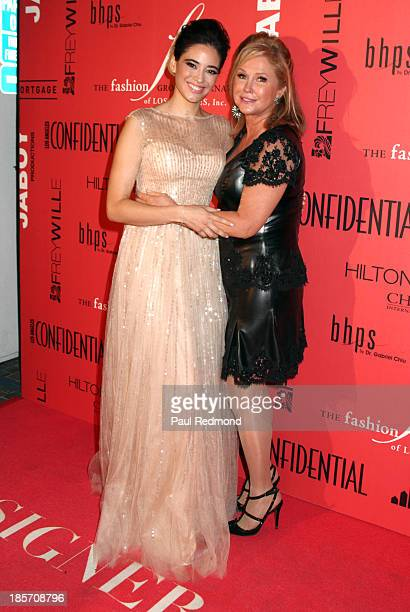 Actress Edy Ganem and Kathy Hilton arrive at FGILA's 5th Annual Designer The Muse hosted by Kathy Hilton at Mr C Beverly Hills on October 23 2013 in...