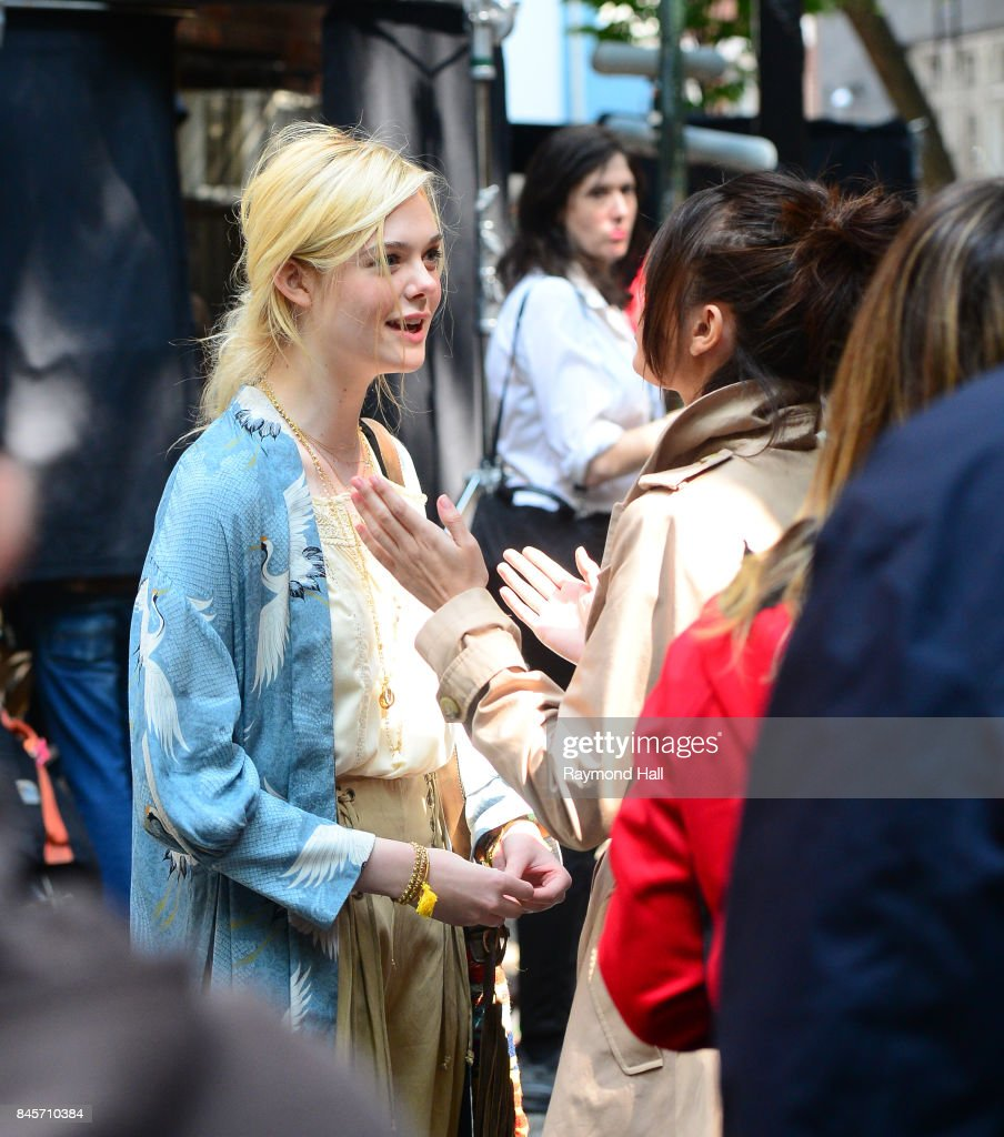 Actress Eile Fanning and Selena Gomez on the set of Woody Allen movie on September 11, 2017 in New York City.