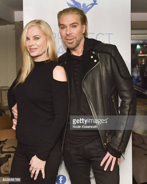 Actress Eileen Davidson and hair stylist Chaz Dean attend 'The Real Housewives of Beverly Hills' TV episode debut at PUMP Restaurant on February 21...