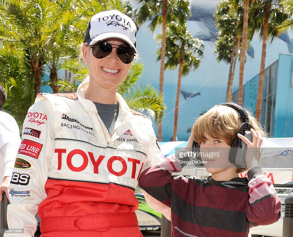 Actress Eileen Davidson and son Jesse at the 36th Annual 2012 Toyota Pro/Celebrity Race on April 14, 2012 in Long Beach, California.