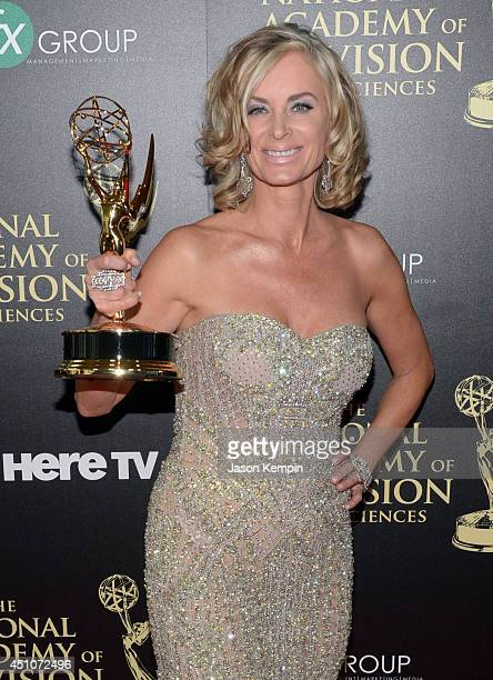 Actress Eileen Davidson poses in the press room with the Outstanding Lead Actress in a Drama Series award for 'Days of Our Lives' during The 41st...