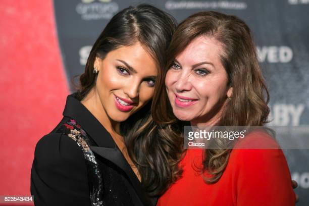 Actress Eiza Gonzalez and Glenda Reyna pose during the 'Baby Driver' Mexico City premier at Cinemex Antara Polanco on July 26 2017 in Mexico City...