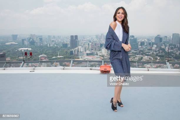 Actress Eiza Gonzalez attends a photocall to promote the film 'Baby Driver' at St Regis Hotel heliport on July 27 2017 in Mexico City Mexico
