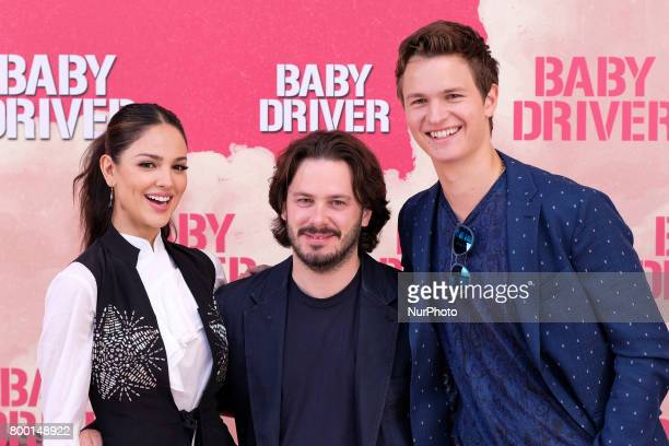 Actress Eiza Gonzalez director Edgar Wright and actor Ansel Elgort attends a photocall for 'Baby Driver' at the Villa Magna Hotel on June 23 2017 in...