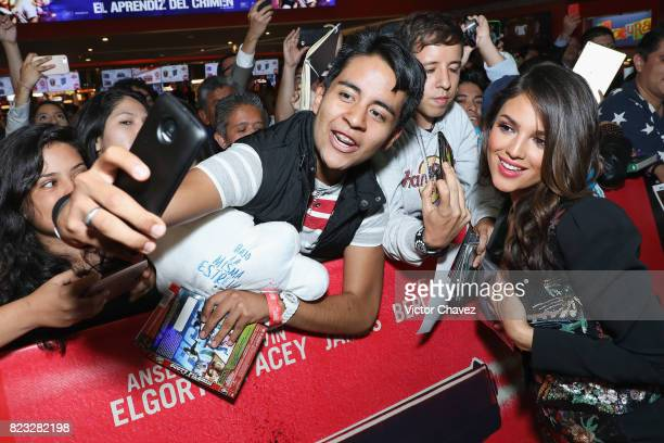 Actress Eiza Gonzalez signs autographs and takes selfies with fans during the 'Baby Driver' Mexico City premier at Cinemex Antara Polanco on July 26...