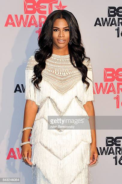Actress EKamie Crawford of 'F In Fabulous' poses for pictures in the press room during the 2016 BET Awards at Microsoft Theater on June 26 2016 in...