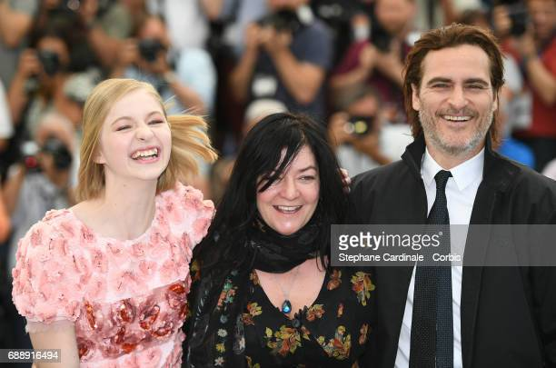 Actress Ekaterina Samsonov Director Lynne Ramsay and actor Joaquin Phoenix attend the 'You Were Never Really Here' photocall during the 70th annual...