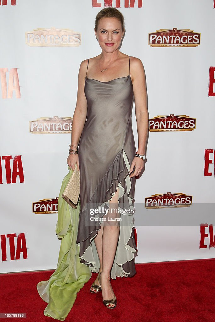 Actress <a gi-track='captionPersonalityLinkClicked' href=/galleries/search?phrase=Elaine+Hendrix&family=editorial&specificpeople=584608 ng-click='$event.stopPropagation()'>Elaine Hendrix</a> arrives at the opening night red carpet for 'Evita' at the Pantages Theatre on October 24, 2013 in Hollywood, California.