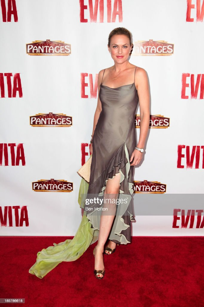 Actress <a gi-track='captionPersonalityLinkClicked' href=/galleries/search?phrase=Elaine+Hendrix&family=editorial&specificpeople=584608 ng-click='$event.stopPropagation()'>Elaine Hendrix</a> attends the 'Evita' Los Angeles opening night at the Pantages Theatre on October 24, 2013 in Hollywood, California.