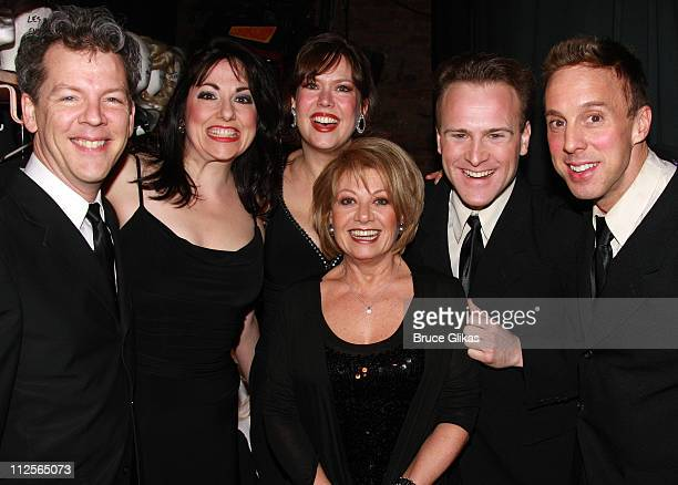 Actress Elaine Paige poses backstage with the cast at 'Forbidden Broadway' at The 47th Street Theater on December 17 2007 in New York City