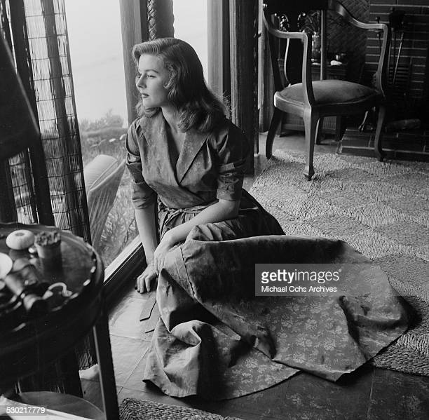 Actress Elaine Stewart poses at the home in Los AngelesCA
