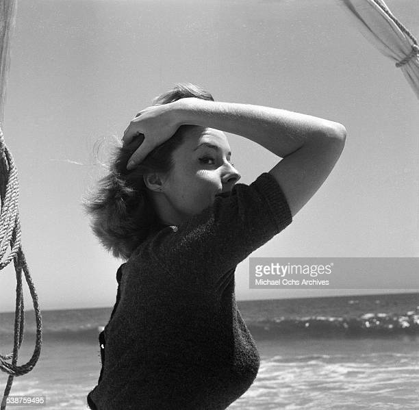 Actress Elaine Stewart poses during the Thalians Beach Ball in MalibuCalifornia