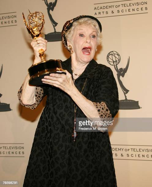 Actress Elaine Stritch receives an award for 'Outstanding Guest Actress' at the 2007 Primetime Creative Arts Emmy Awards at the Shrine Auditorium on...