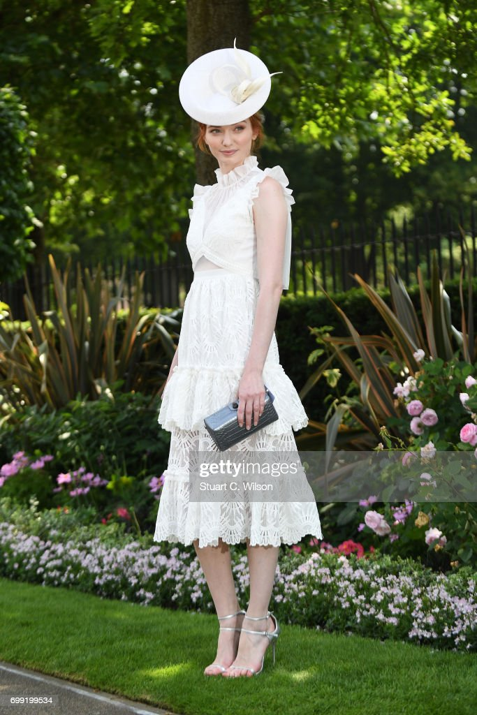 Actress Eleanor Tomlinson attends Royal Ascot 2017 at Ascot Racecourse on June 21, 2017 in Ascot, England.