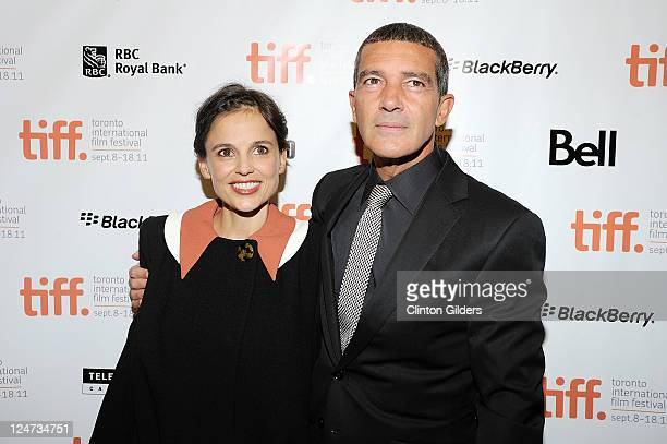 Actress Elena Anaya and actor Antonio Banderas arrive at 'The Skin I Live In' Premiere at the Princess of Wales Theatre on September 11 2011 in...