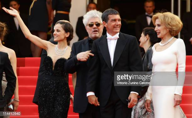Actress Elena Anaya director Pedro Almodovar actor Antonio Banderas and actress Marisa Paredes attend the 'The Skin I Live In' premiere at the Palais...