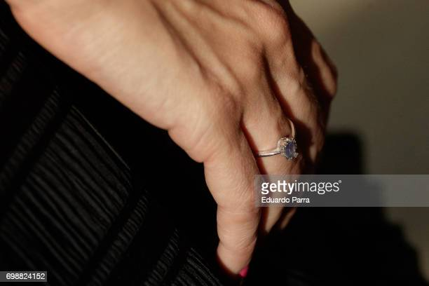 Actress Elena Ballesteros ring detail attends the 'La Moda en la calle by Telva' event at Las Ventas bullring on June 20 2017 in Madrid Spain