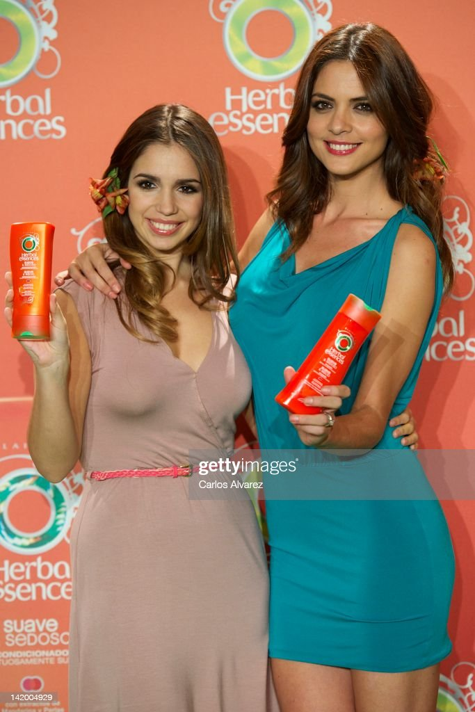Actress Elena Furiase and model Romina Belluscio promote new Herbal Essences products at Puerta de America Hotel on March 28 2012 in Madrid Spain