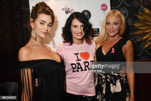 Actress Elisa Bachir Bey model Sylvie Ortega Munos and designer Julia Battaia attend the 'Souffle de Violette' Auction Party As part of 'Octobre...
