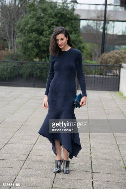 Actress Elisa Lasowski wears all Mulberry on day 3 of London Womens Fashion Week Autumn/Winter 2017 on February 19 2017 in London England