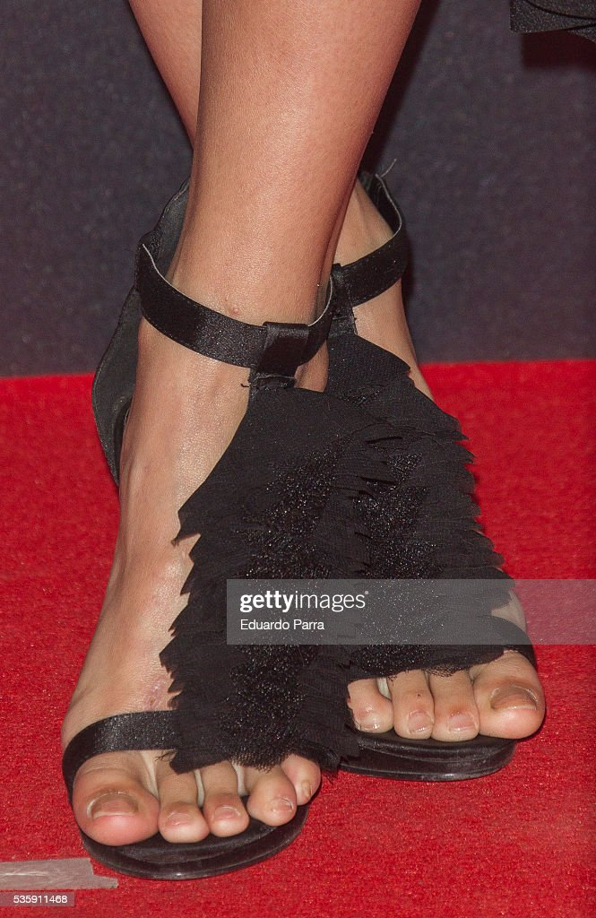 Actress <a gi-track='captionPersonalityLinkClicked' href=/galleries/search?phrase=Elisa+Mouliaa&family=editorial&specificpeople=7068487 ng-click='$event.stopPropagation()'>Elisa Mouliaa</a>, shoes detail, attends the 'Nuestros Amantes' premiere at Palafox cinema on May 30, 2016 in Madrid, Spain.