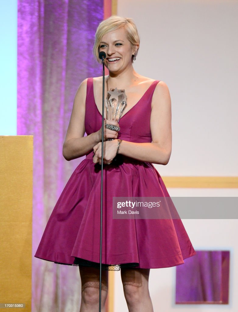 Actress <a gi-track='captionPersonalityLinkClicked' href=/galleries/search?phrase=Elisabeth+Moss&family=editorial&specificpeople=3079265 ng-click='$event.stopPropagation()'>Elisabeth Moss</a> accepts the award for Best Actress in a Movie or Miniseries for 'Top of the Lake' onstage during Broadcast Television Journalists Association's third annual Critics' Choice Television Awards at The Beverly Hilton Hotel on June 10, 2013 in Los Angeles, California.