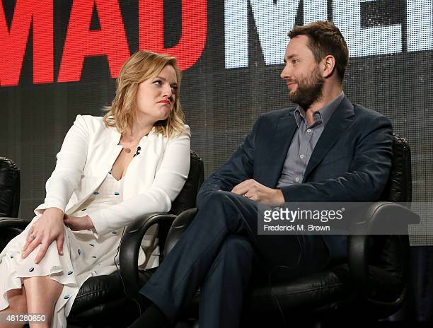 Actress Elisabeth Moss and actor Vincent Kartheiser speak onstage during the 'Mad Men' panel at the AMC portion of the 2015 Winter Television Critics...