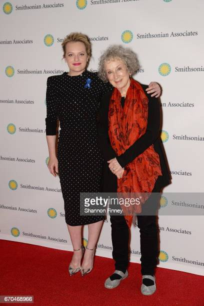 Actress Elisabeth Moss and author Margaret Atwood at the preview of Hulu's 'The Handmaid's Tale' at the Smithsonian National Museum Of Natural...