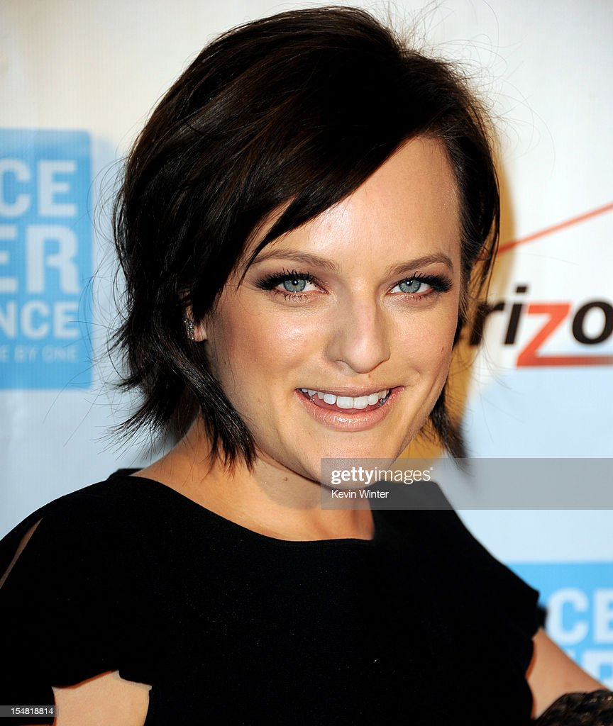 Actress Elisabeth Moss arrives at the 41st Annual Peace Over Violence Humanitarian Awards at the Beverly Hills Hotel on October 26, 2012 in Beverly Hills, California.