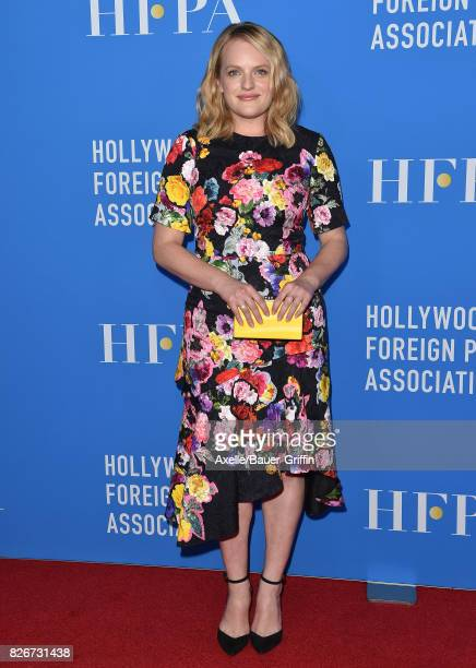 Actress Elisabeth Moss arrives at the Hollywood Foreign Press Association's Grants Banquet at the Beverly Wilshire Four Seasons Hotel on August 2...