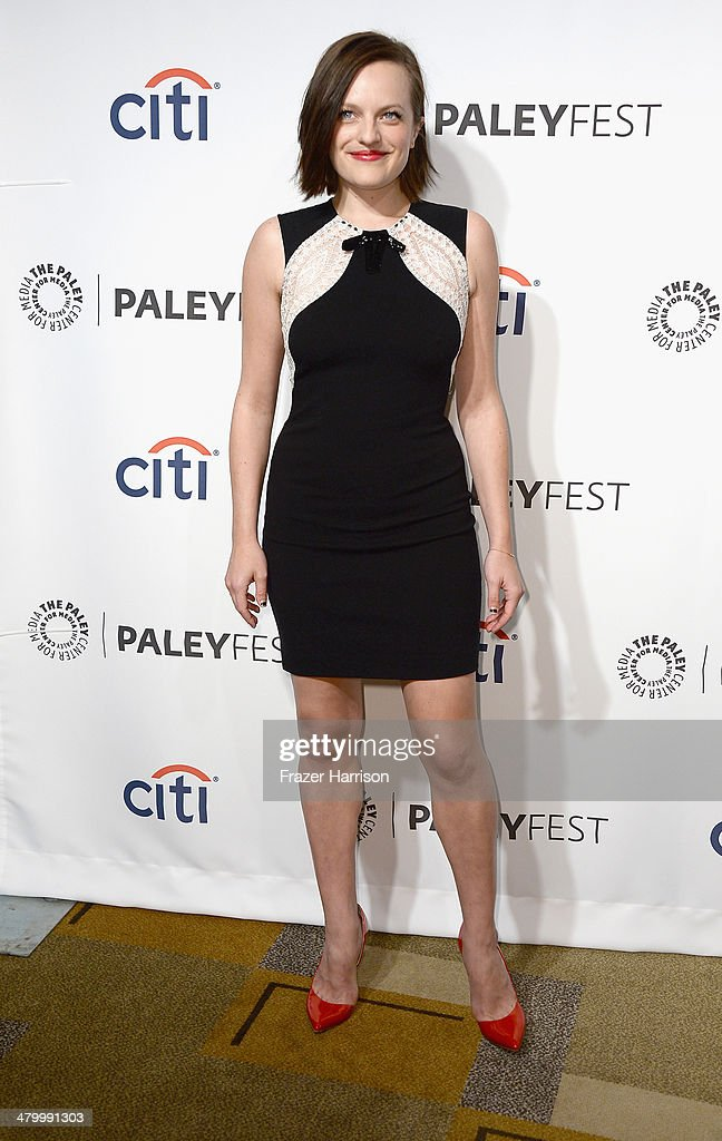 Actress Elisabeth Moss arrives at The Paley Center For Media's PaleyFest 2014 Honoring 'Mad Men' at Dolby Theatre on March 21 2014 in Hollywood...