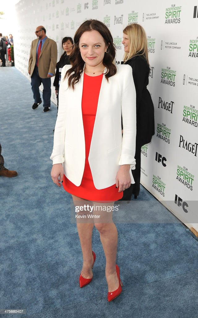 Actress <a gi-track='captionPersonalityLinkClicked' href=/galleries/search?phrase=Elisabeth+Moss&family=editorial&specificpeople=3079265 ng-click='$event.stopPropagation()'>Elisabeth Moss</a> attends the 2014 Film Independent Spirit Awards at Santa Monica Beach on March 1, 2014 in Santa Monica, California.