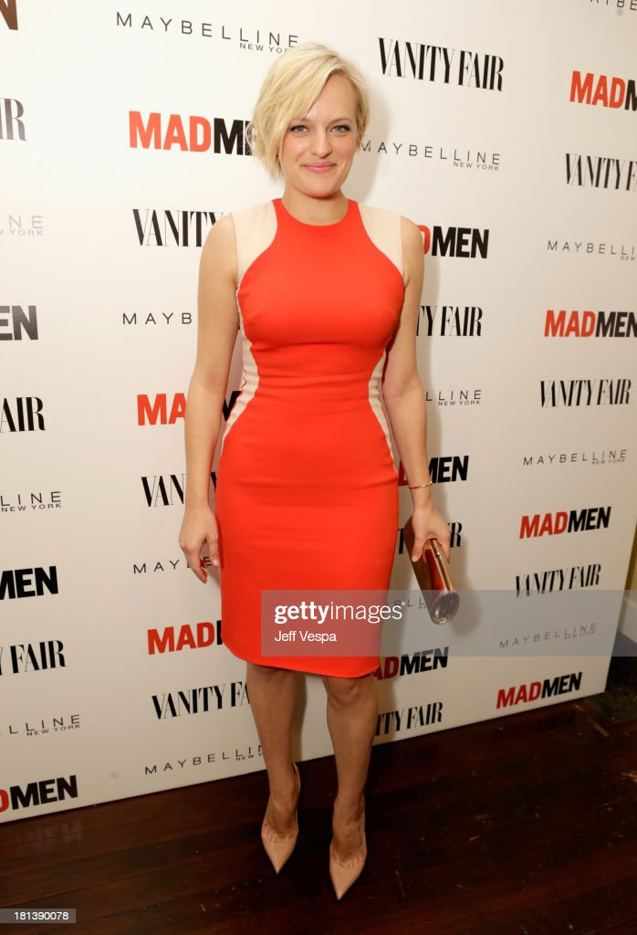 Actress <a gi-track='captionPersonalityLinkClicked' href=/galleries/search?phrase=Elisabeth+Moss&family=editorial&specificpeople=3079265 ng-click='$event.stopPropagation()'>Elisabeth Moss</a> attends Vanity Fair and Maybelline toast to 'Mad Men' at Chateau Marmont on September 20, 2013 in Los Angeles, California.