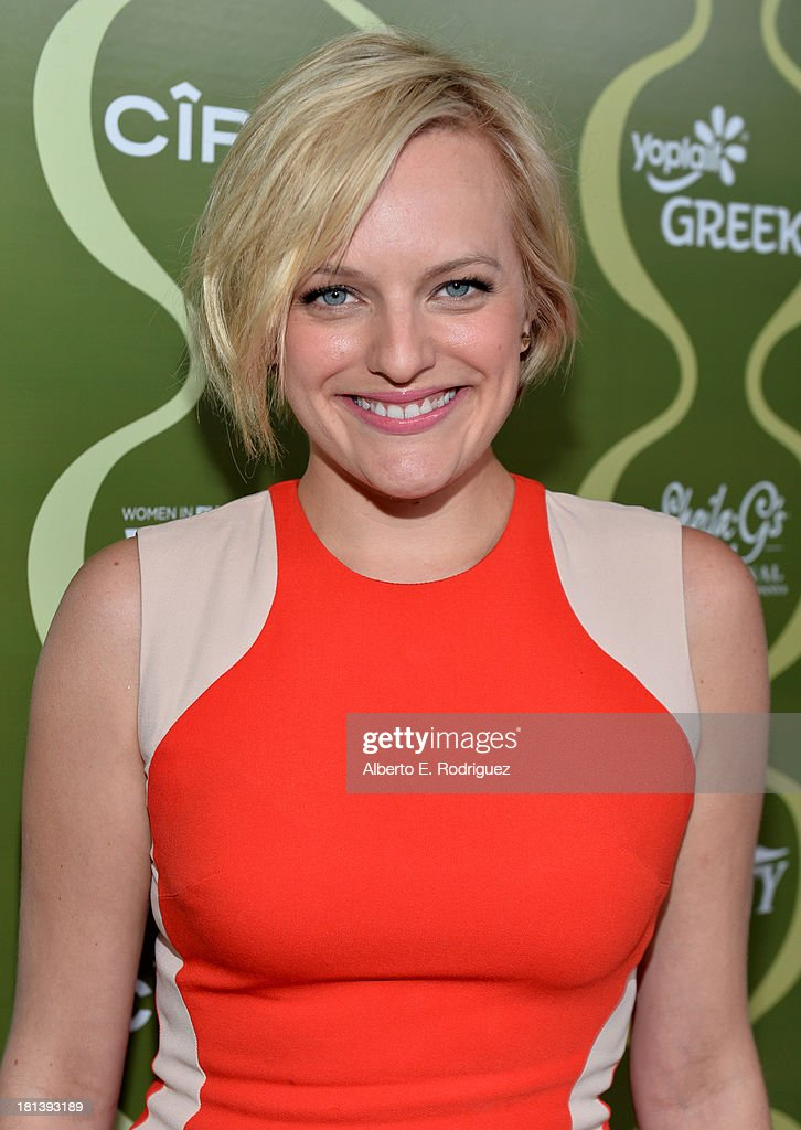 Actress <a gi-track='captionPersonalityLinkClicked' href=/galleries/search?phrase=Elisabeth+Moss&family=editorial&specificpeople=3079265 ng-click='$event.stopPropagation()'>Elisabeth Moss</a> attends Variety & Women In Film Pre-Emmy Event presented by Yoplait Greek at Scarpetta on September 20, 2013 in Beverly Hills, California.