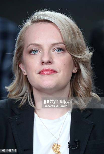 Actress Elisabeth Moss from Hulu's Original 'The Handmaid's Tale' speaks onstage during Hulu's 2017 Winter TCA Tour at Langham Hotel on January 7...