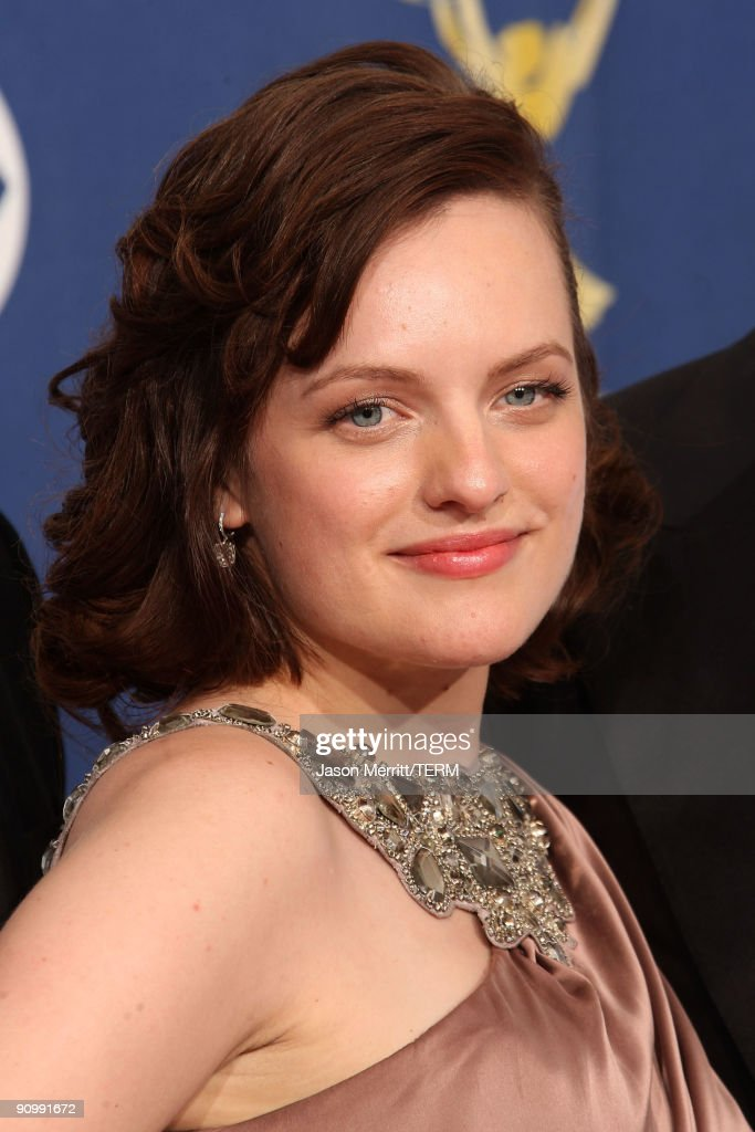 Actress <a gi-track='captionPersonalityLinkClicked' href=/galleries/search?phrase=Elisabeth+Moss&family=editorial&specificpeople=3079265 ng-click='$event.stopPropagation()'>Elisabeth Moss</a> poses in the press room after her show 'Mad Men' won for Outstanding Drama Series at the 61st Primetime Emmy Awards held at the Nokia Theatre on September 20, 2009 in Los Angeles, California.