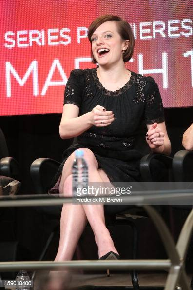 Actress Elisabeth Moss speaks onstage at the 'Top of the Lake' panel discussion during the Sundance Channel portion of the 2013 Winter TCA Tour Day 2...