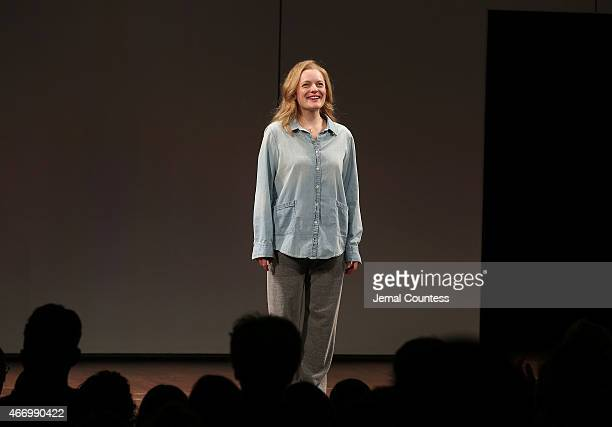 Actress Elisabeth Moss takes a bow at the curtain call for 'The Heidi Chronicles' Broadway Opening Night at The Music Box Theatre on March 19 2015 in...