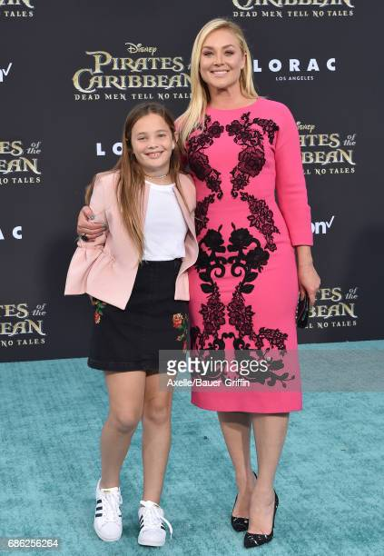 Actress Elisabeth Rohm and daughter Easton August Anthony arrive at the premiere of Disney's 'Pirates of the Caribbean Dead Men Tell No Tales' at...