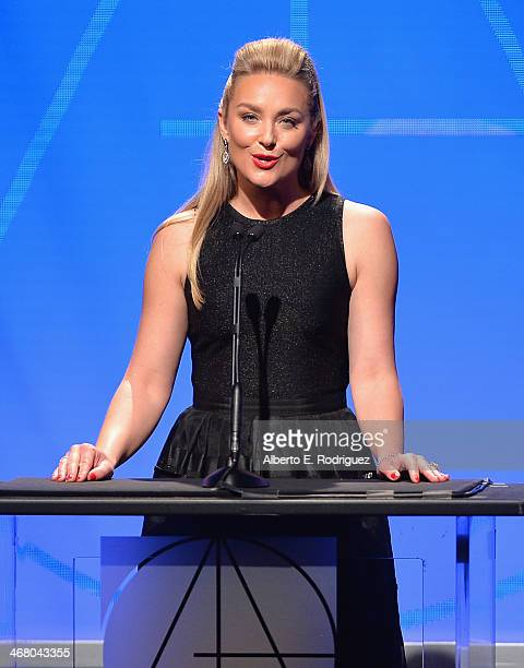 Actress Elizabeth Rohm speaks on stage atthe 18th Annual Art Directors Guild Exellence In Production Design Awards at The Beverly Hilton Hotel on...